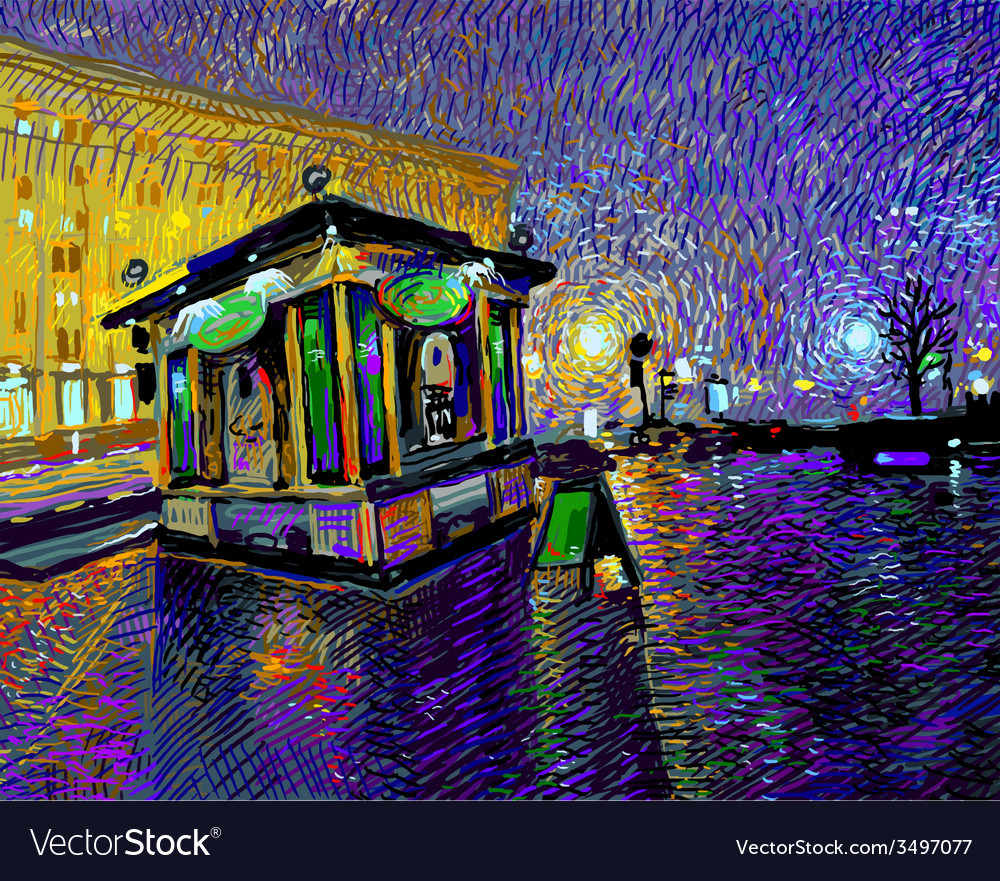 Digital painting of night kyiv city vector
