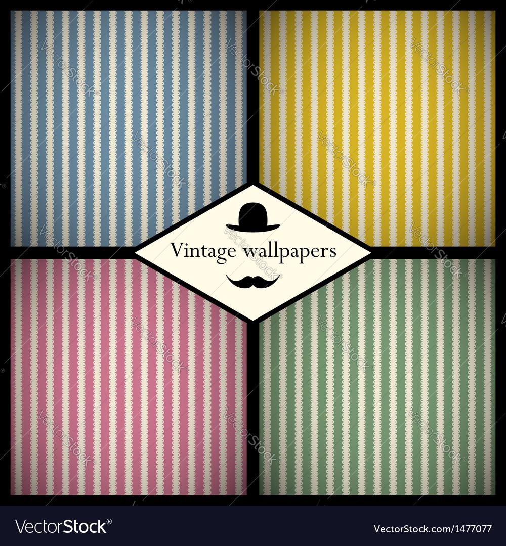 Set of vintage striped patterns vector