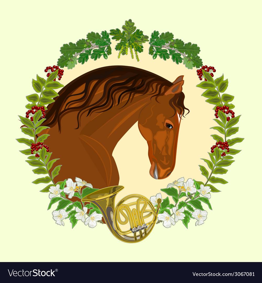Horse dark chestnut head of stallion vector