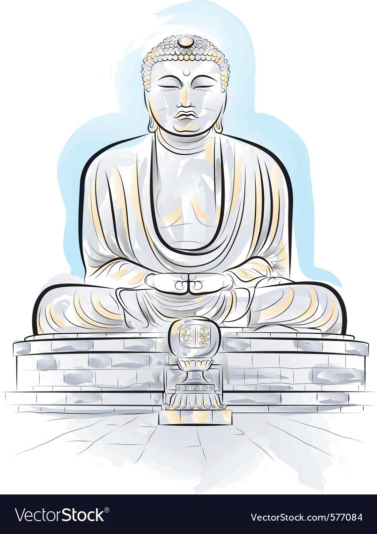 Drawing giant buddha vector