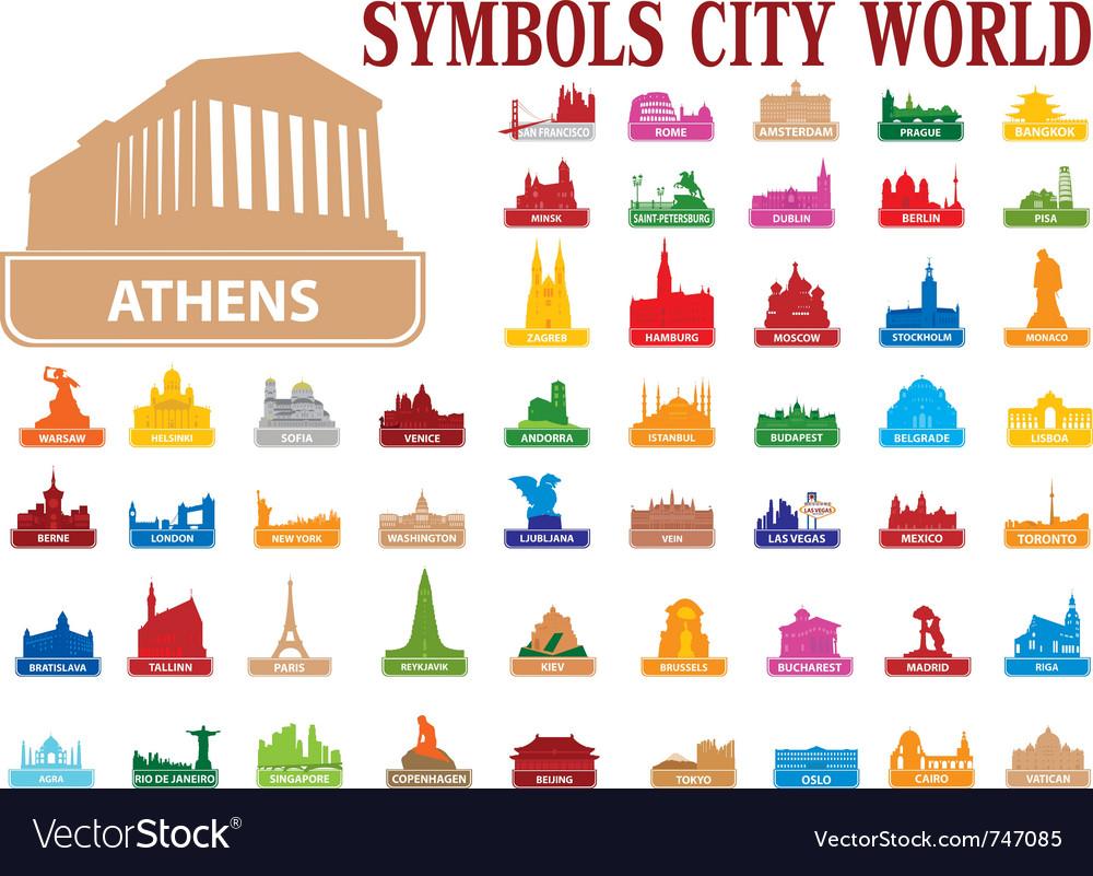 Symbols city world vector