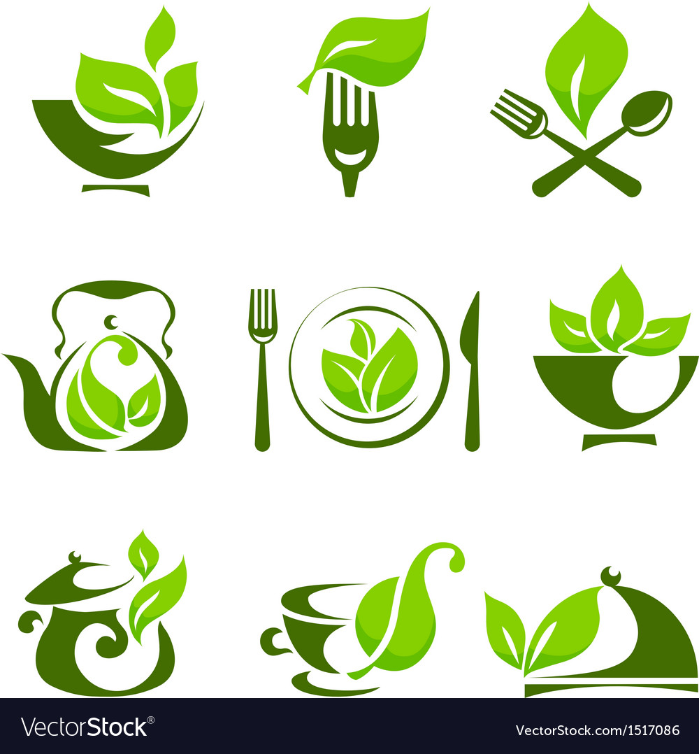 Organic food design elements vector