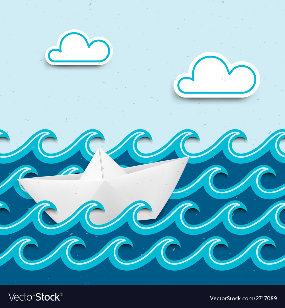 Nautical cartoon scenery vector