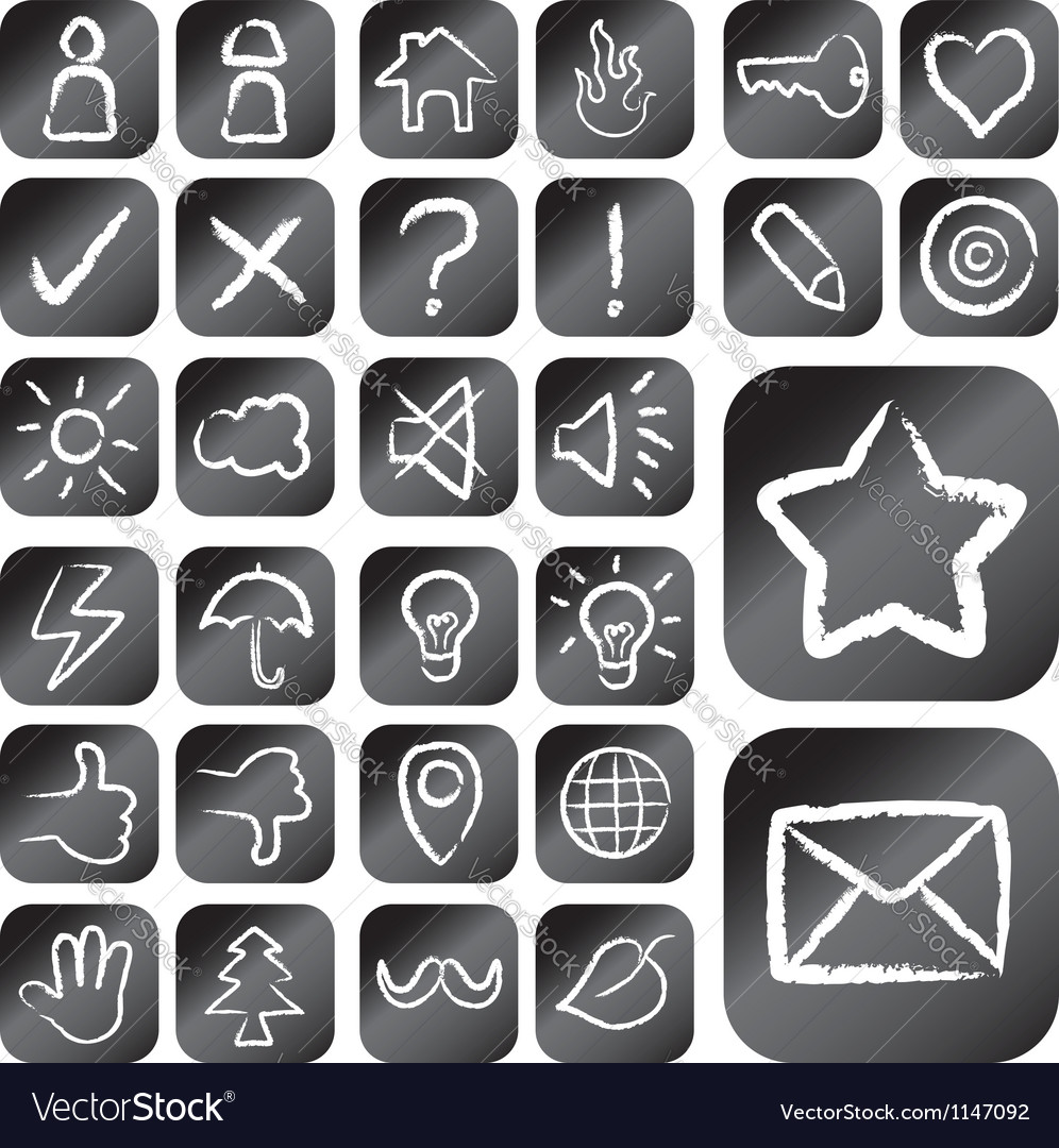 Chalk drawing style icons vector