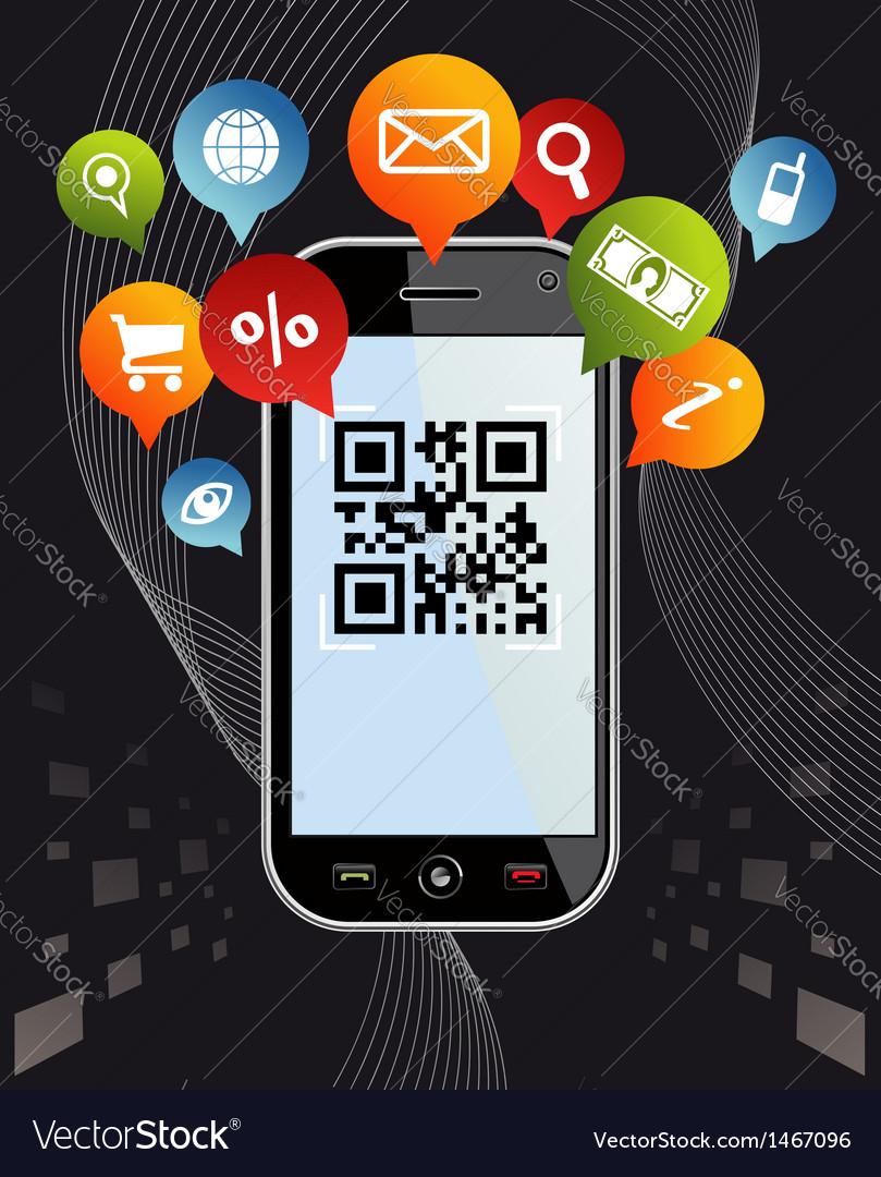Go social via smartphone qr code application on vector