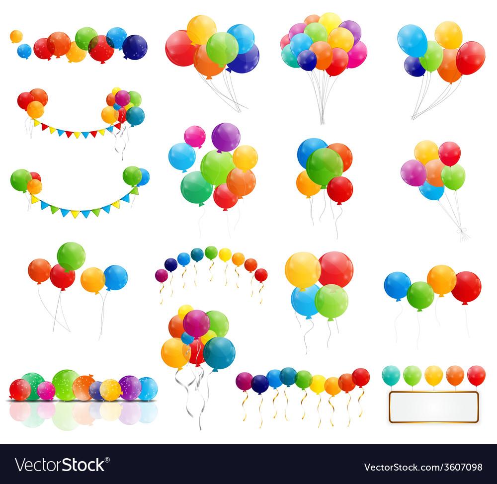 Color glossy balloons mega set vector