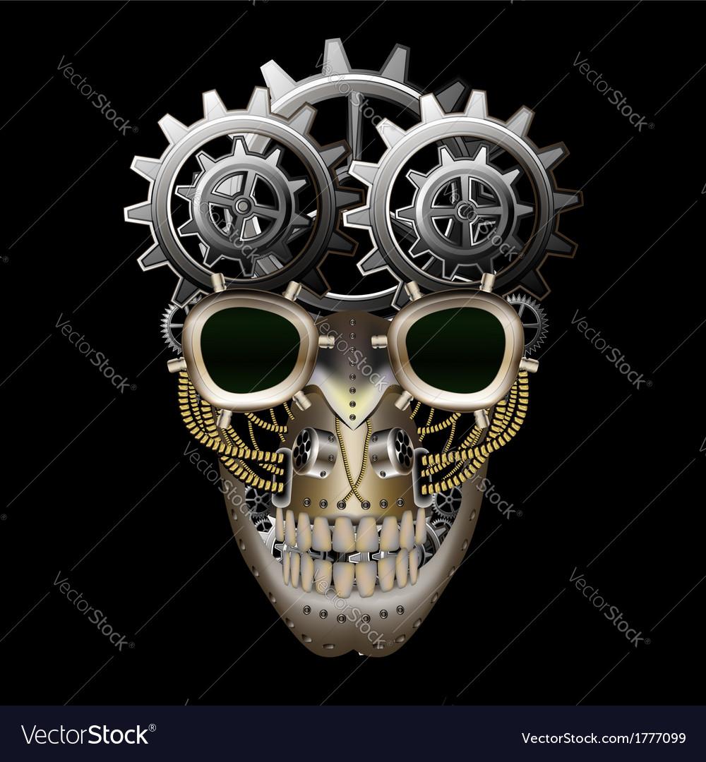 Steam punk skull vector