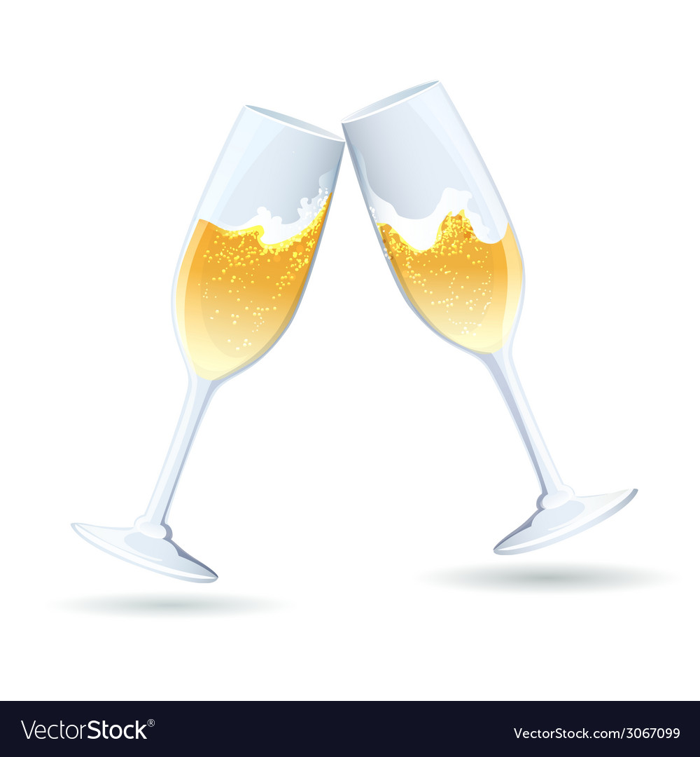 Two flutes of golden bubbly champagne vector