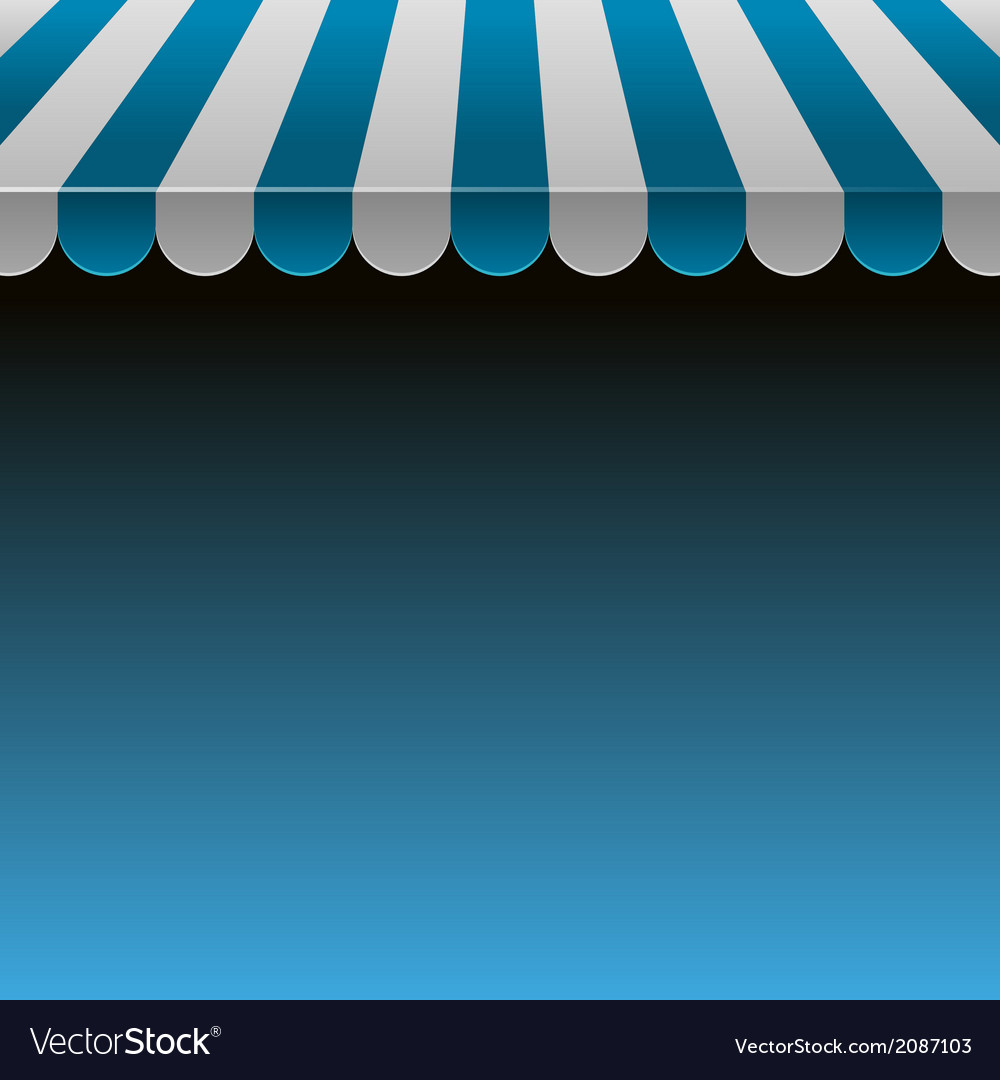 Blue and white strip shop awning with space for vector