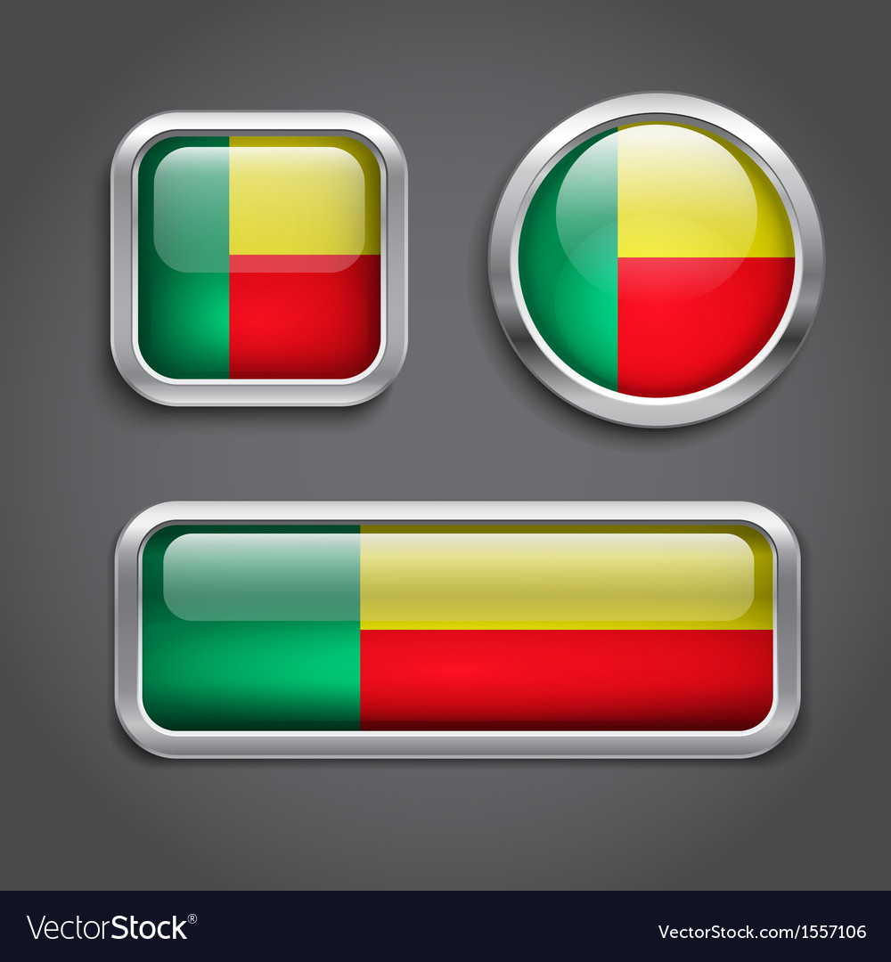 Benin flag buttons vector