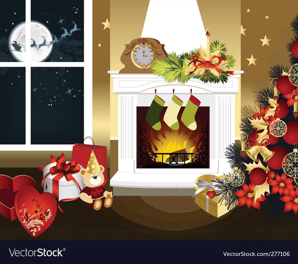 Christmas room vector