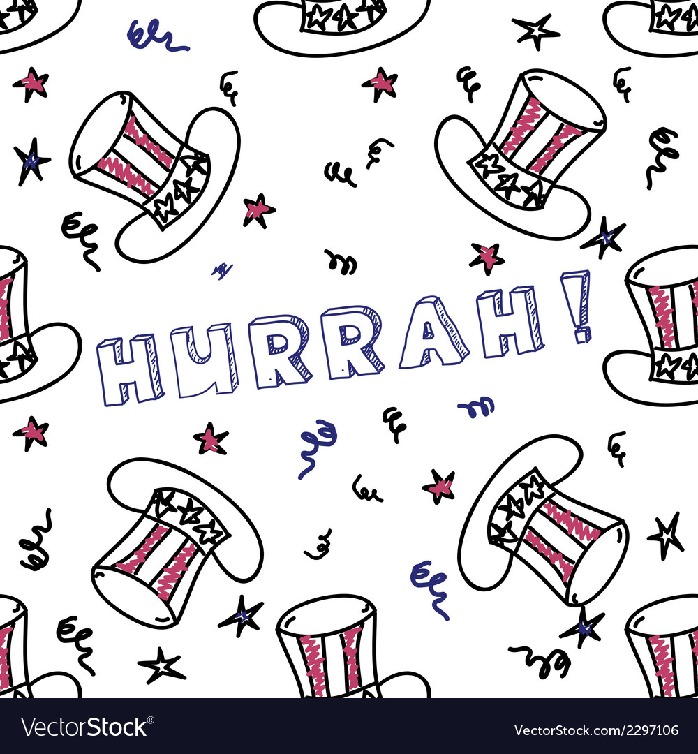 Independence day celebration card with text hurrah vector