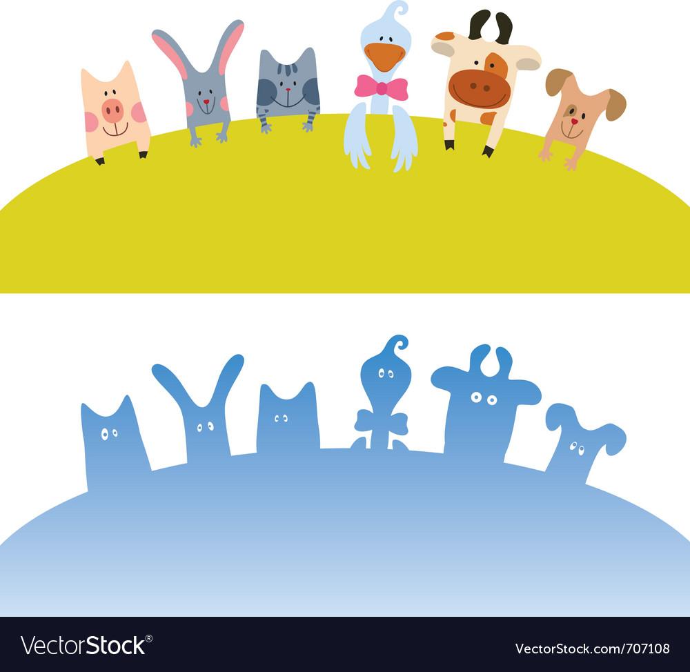 Cartoon farm animals vector