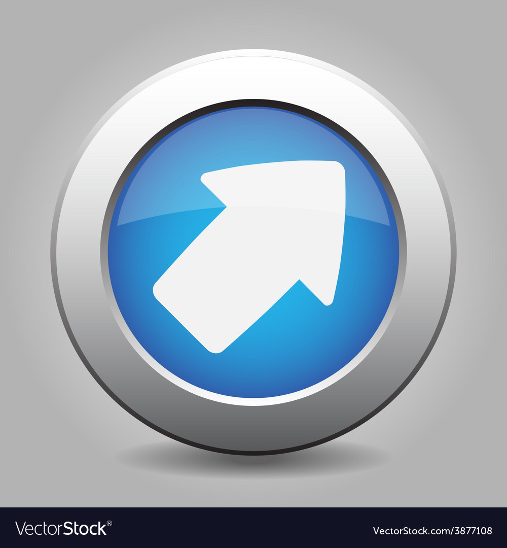 Metal button with the blue arrow vector