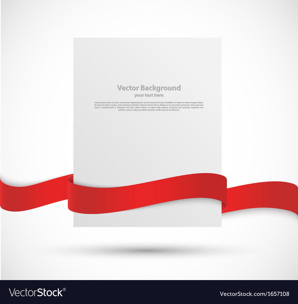Paper banner with red ribbon vector