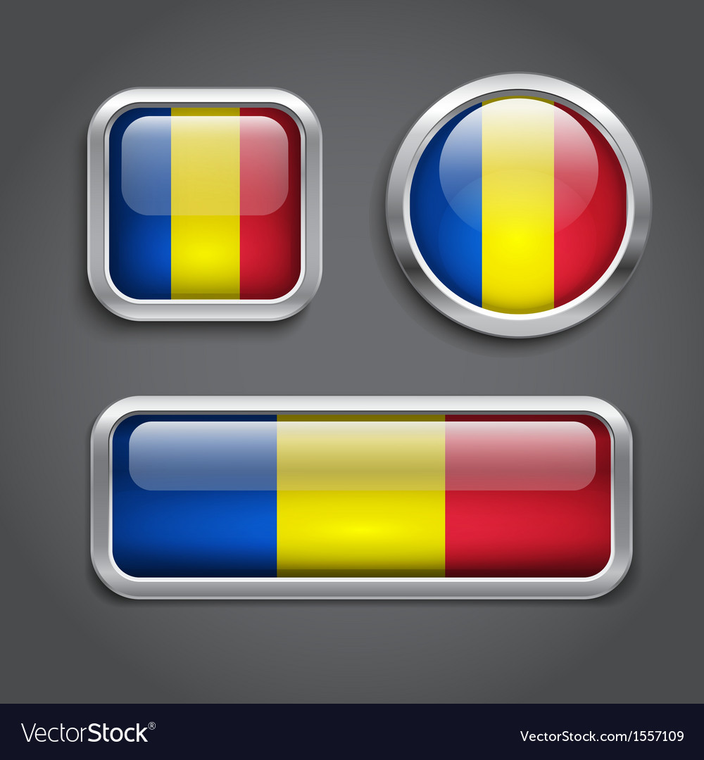Chad flag glass buttons vector
