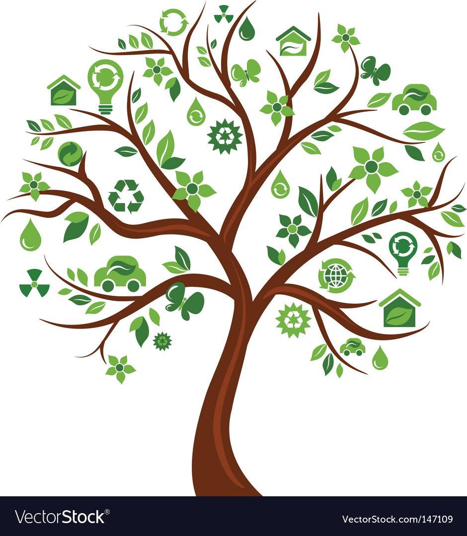 Environmental icons tree vector