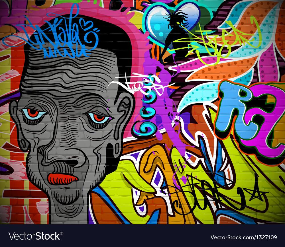 Graffiti wall urban art background vector