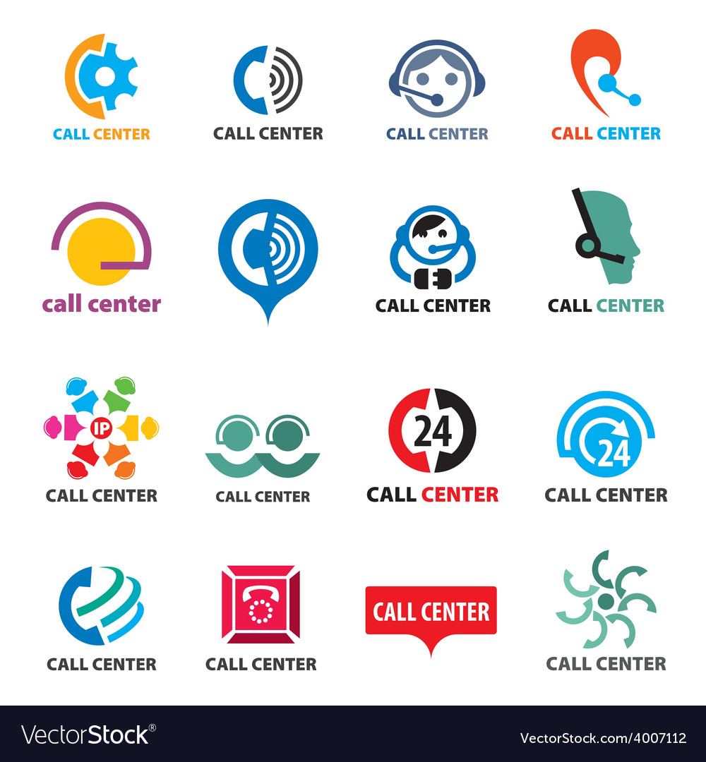 Big set of logos call center vector