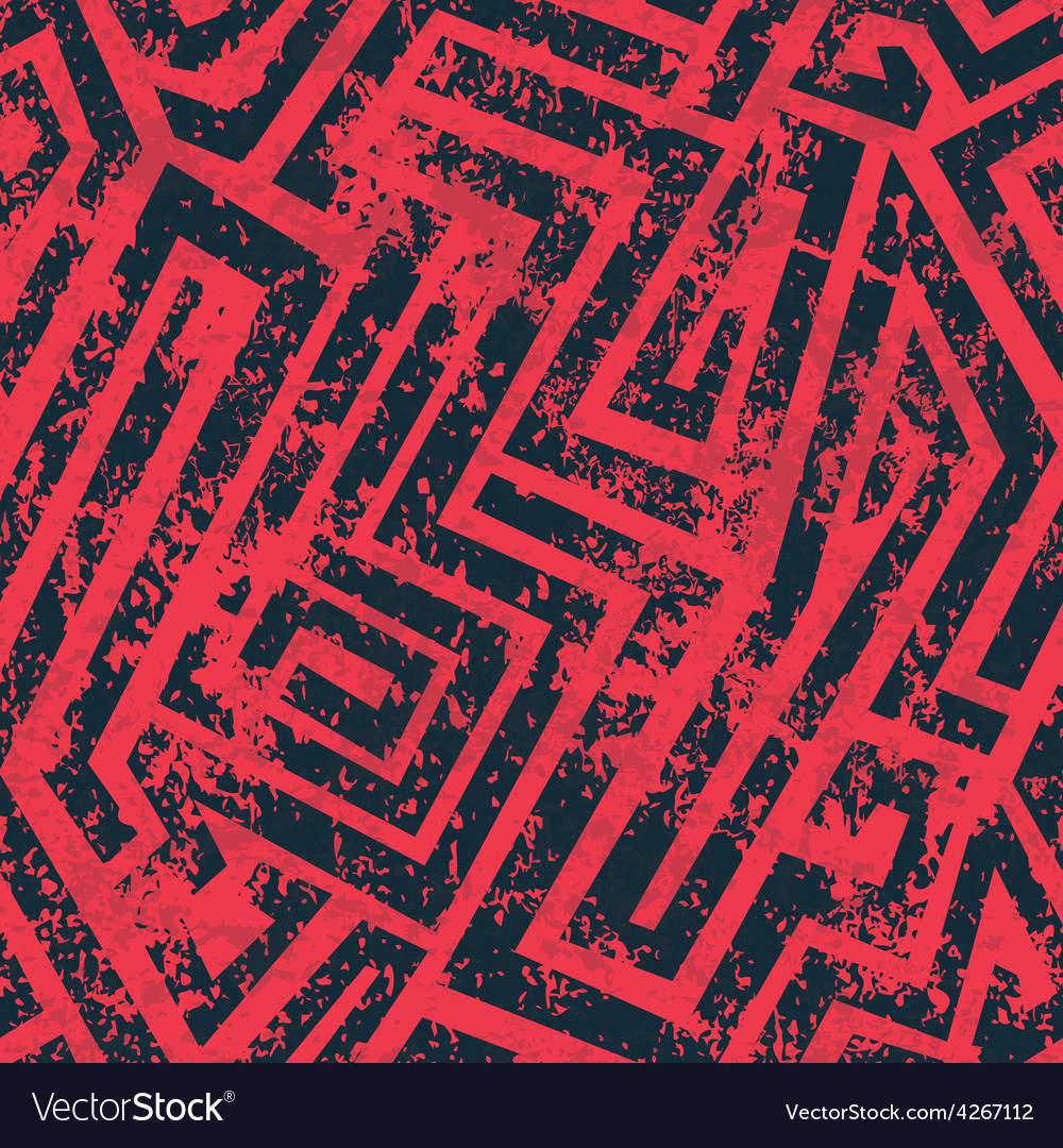 Red industrial maze seamless pattern with grunge vector