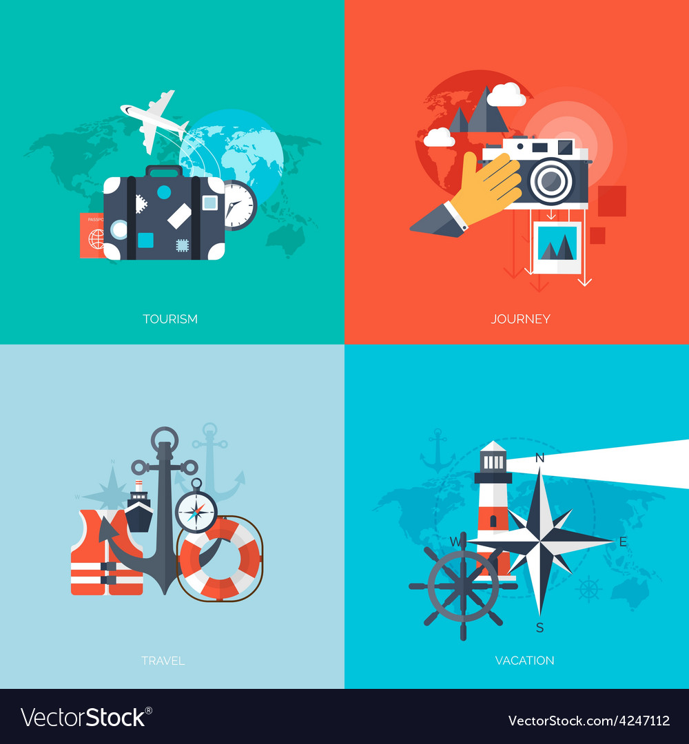 World travel concept backgrounds set flat icons vector