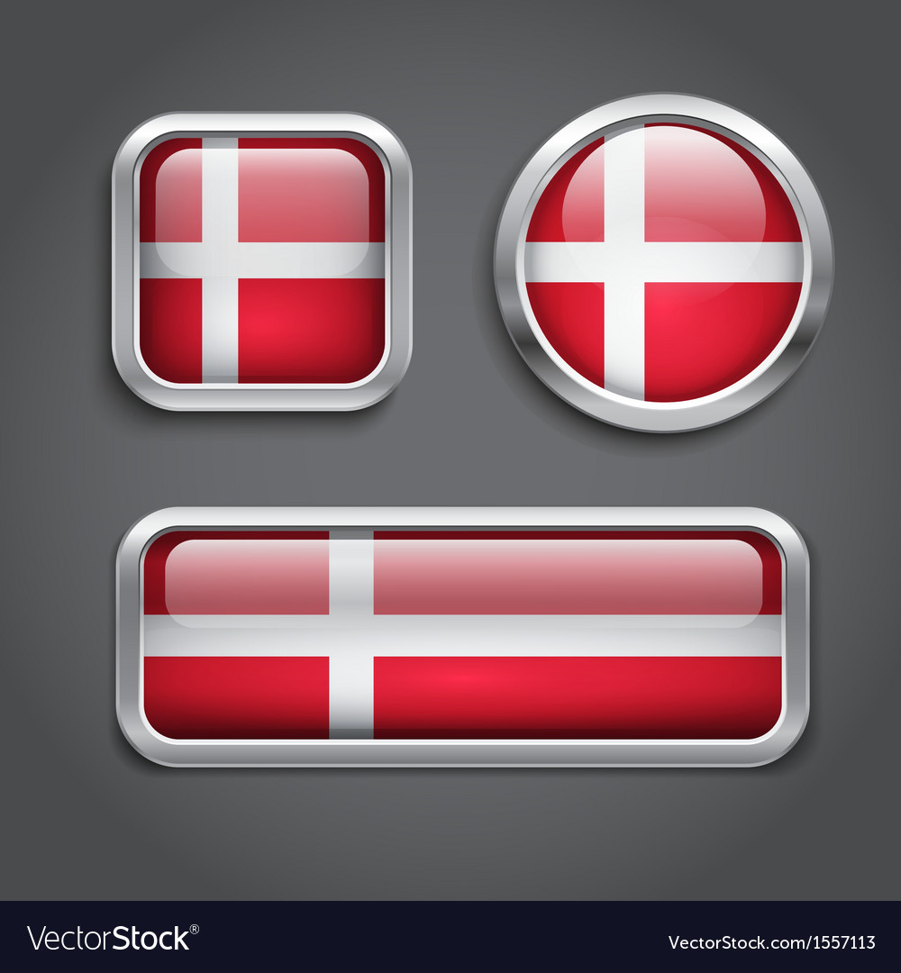 Denmark flag glass buttons vector