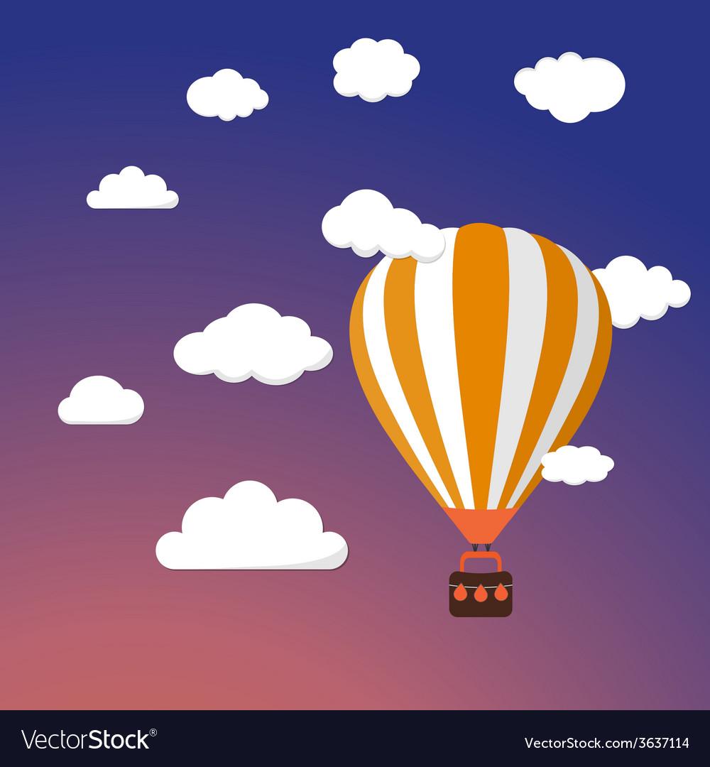 Cartoon retro air balloon on night sky background vector