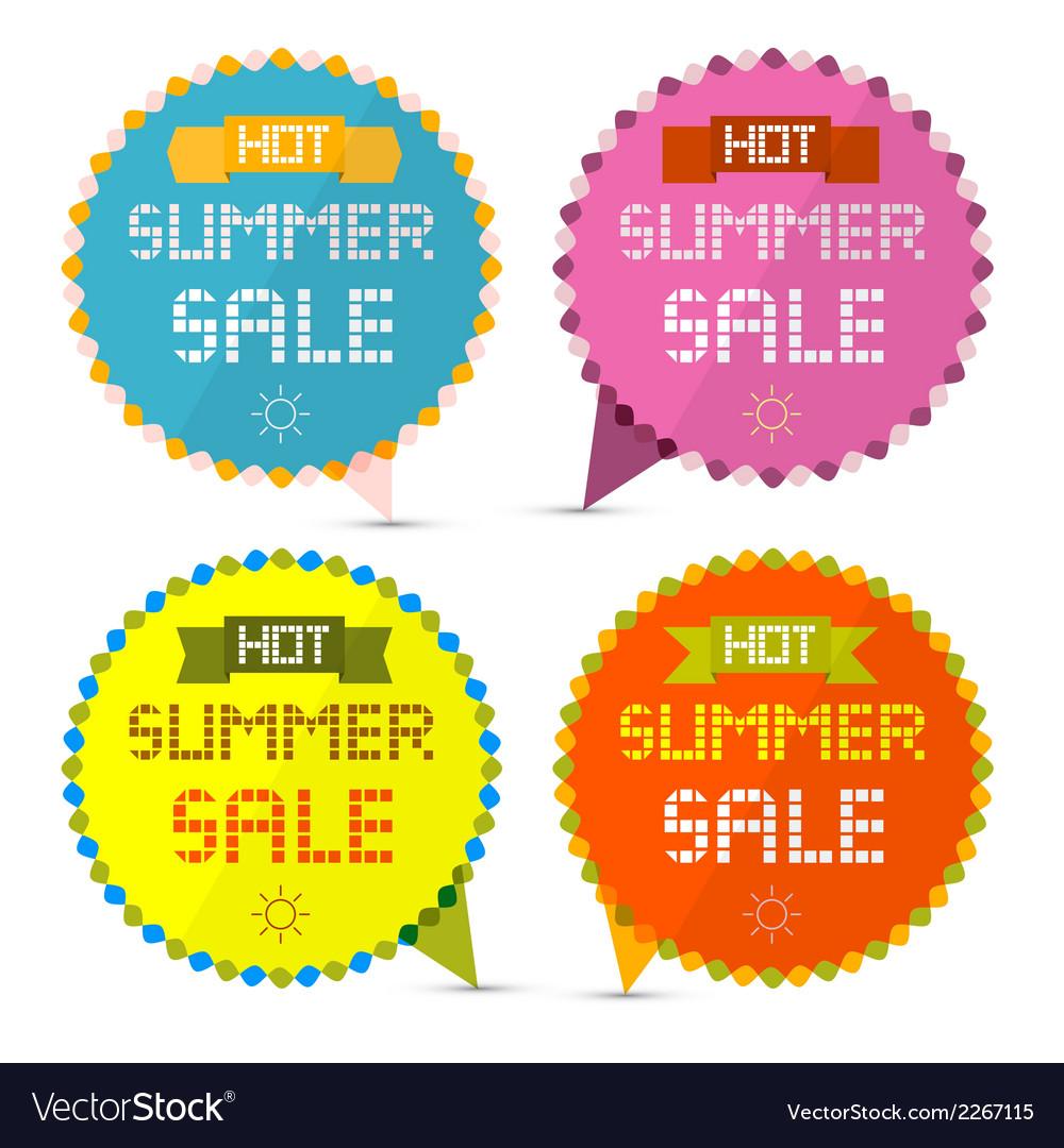 Hot summer sale paper retro labels set vector