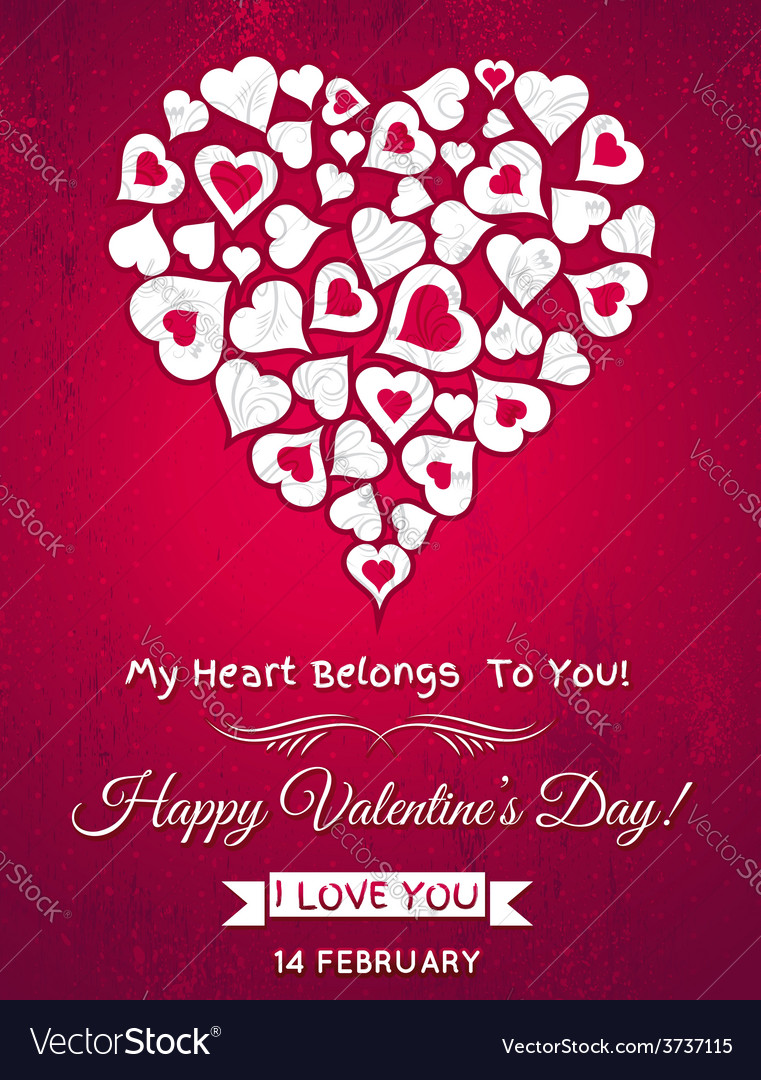 Red valentines day greeting card with white heart vector