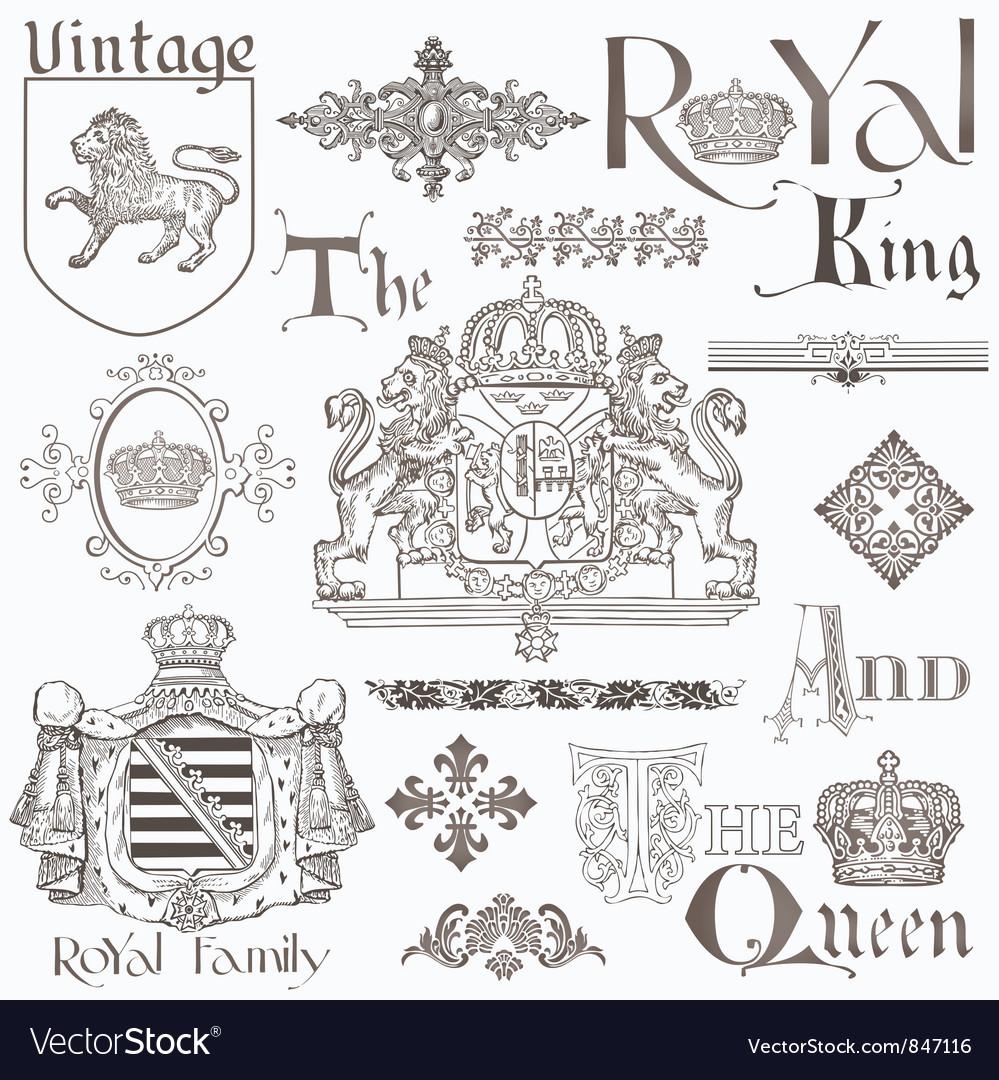 Set of vintage royalty design elements vector