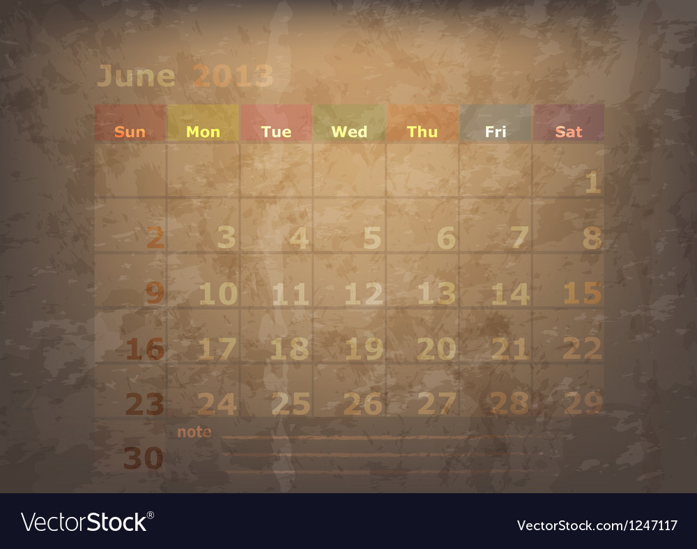 Antique calendar of june vector