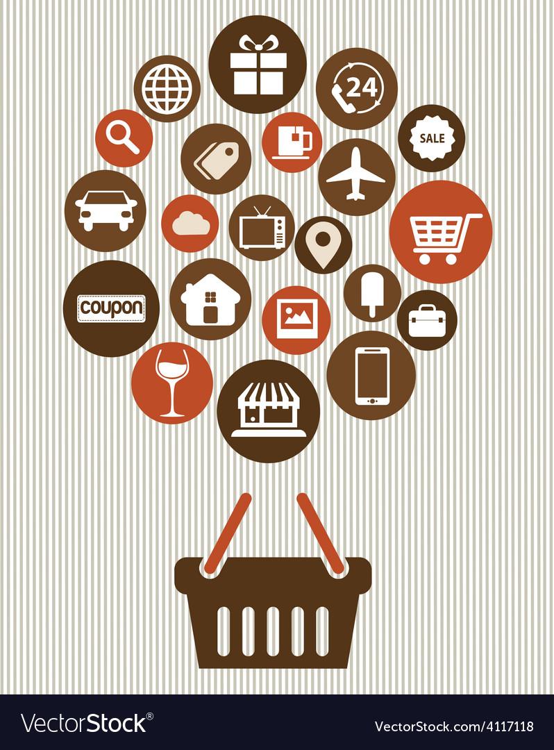Shopping web design icons vector
