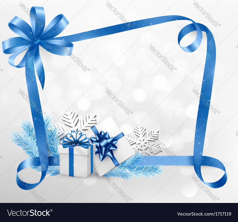 Holiday background with blue gift bow and gift vector