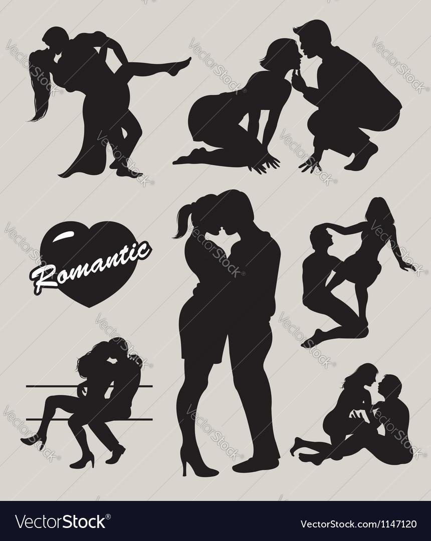 Romantic love couple silhouette 2 vector