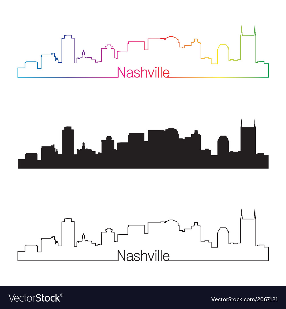Nashville skyline linear style with rainbow vector