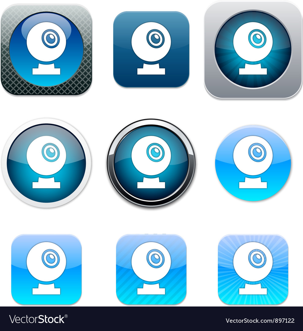 Webcam blue app icons vector