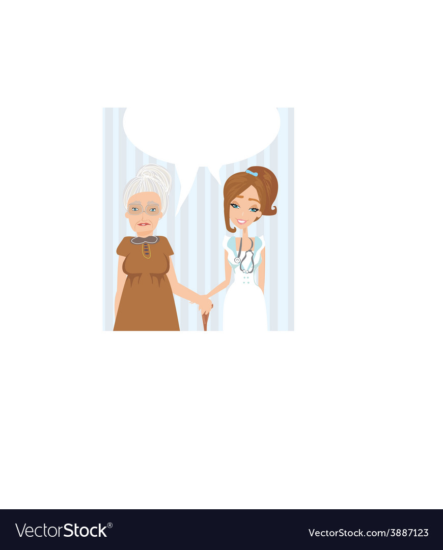 An elderly lady at the doctor in practice vector