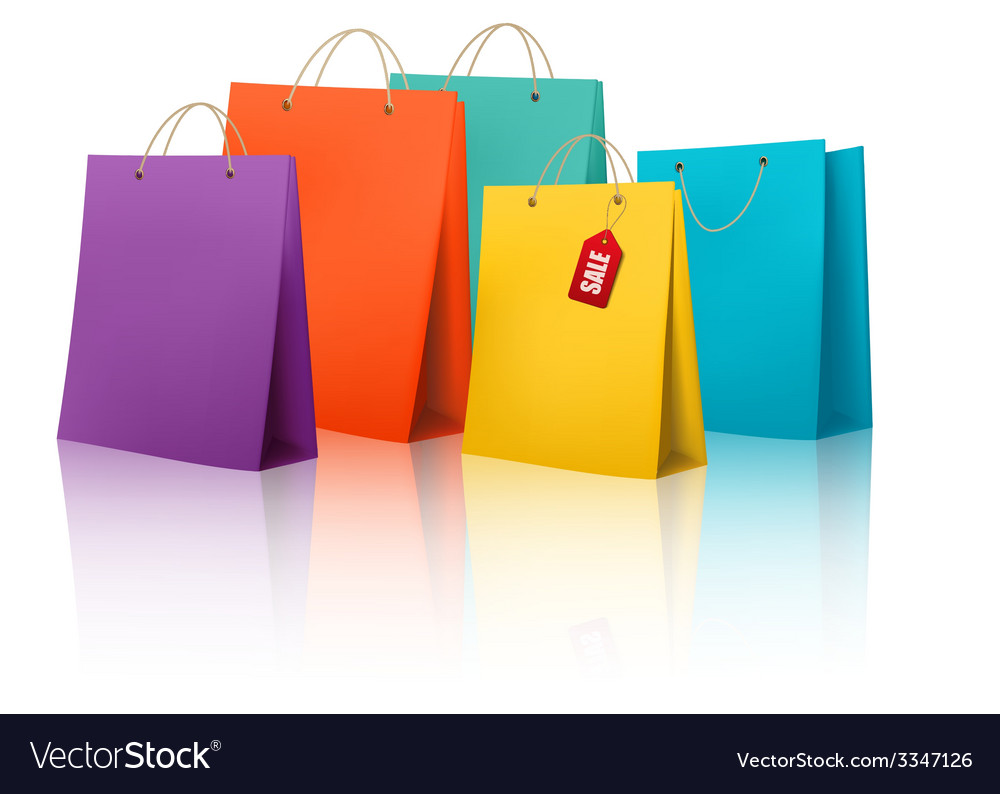 Background with colorful shopping bags discount vector