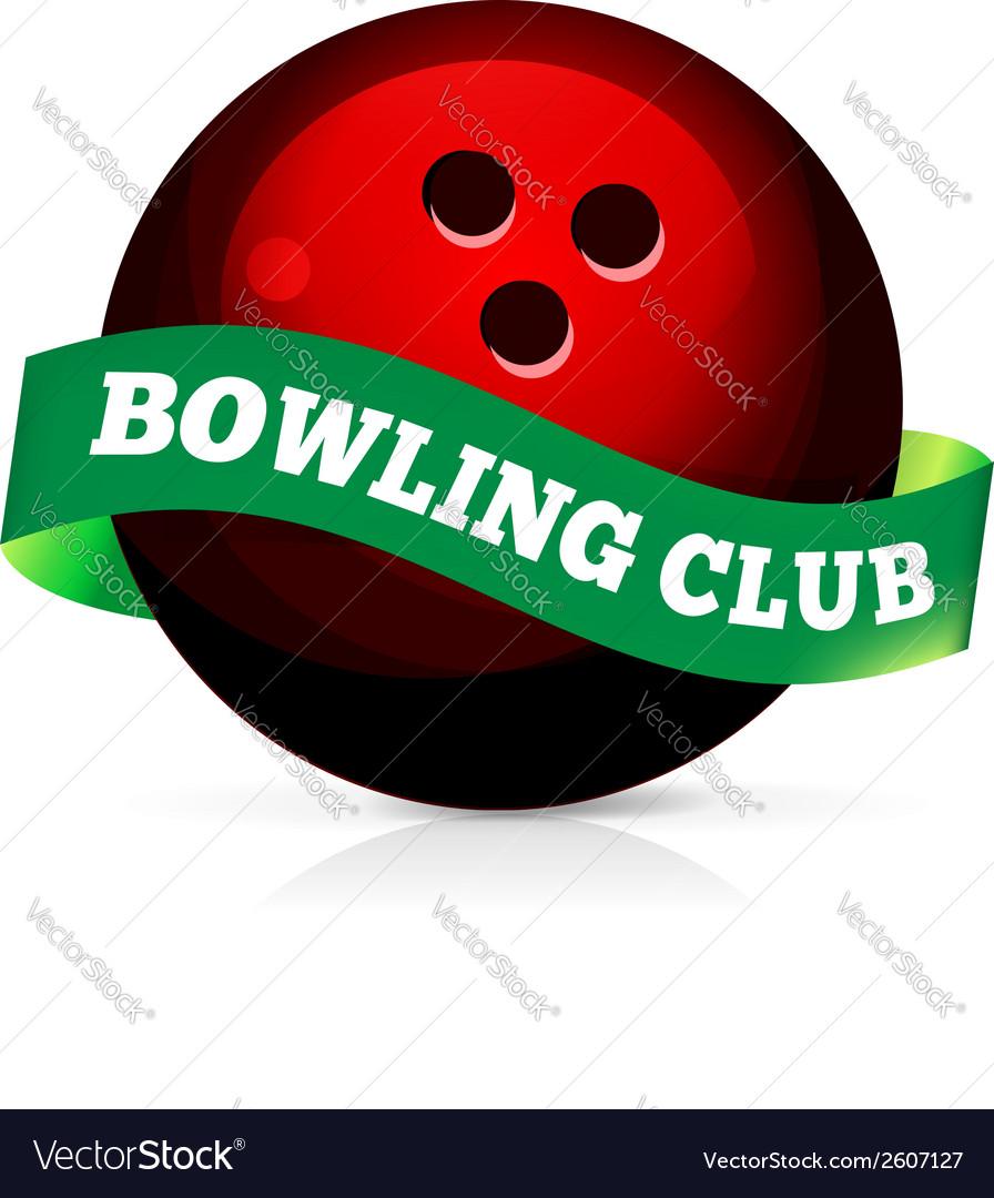 Bowling ball with ribbon vector