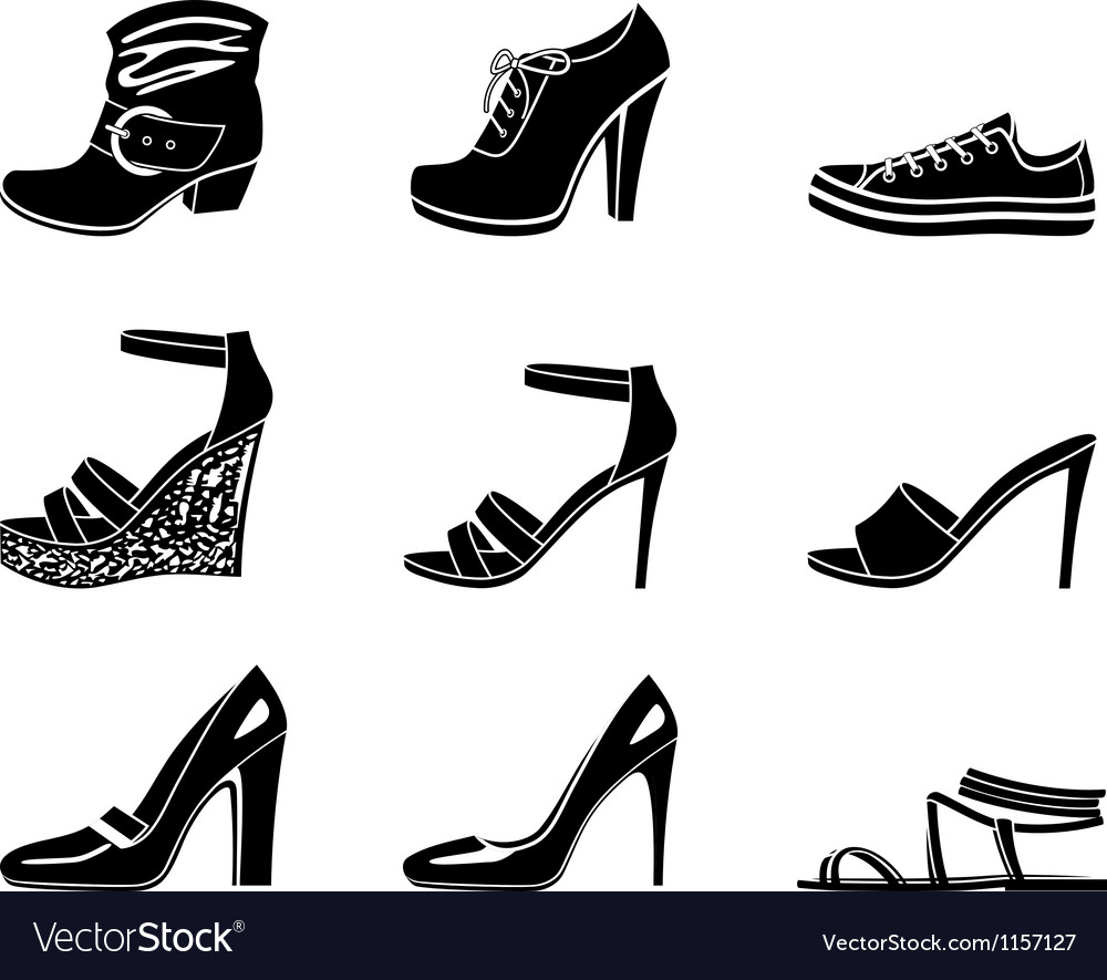 Set of icons of womanish shoe vector