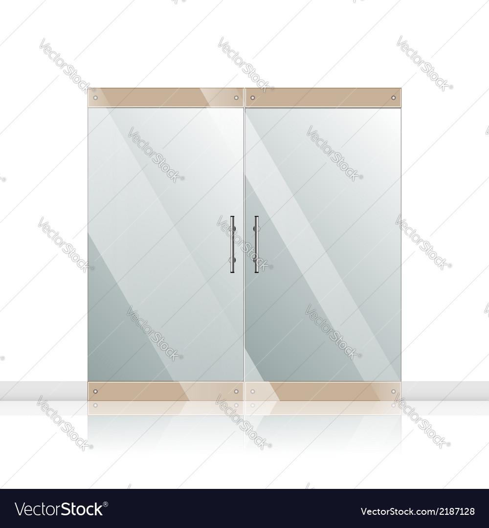 Glass door with chrome silver handles set vector