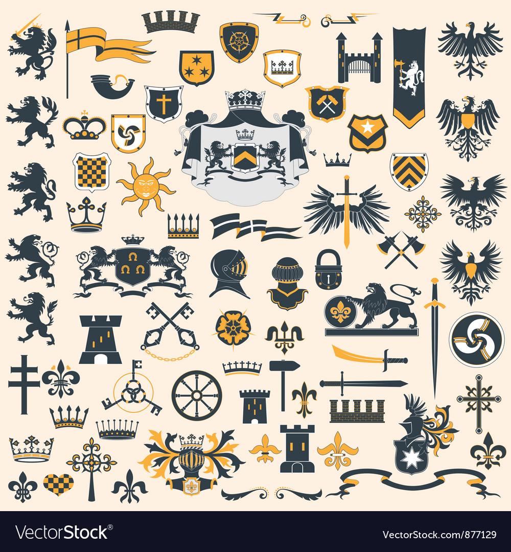 Heraldic design elements set vector