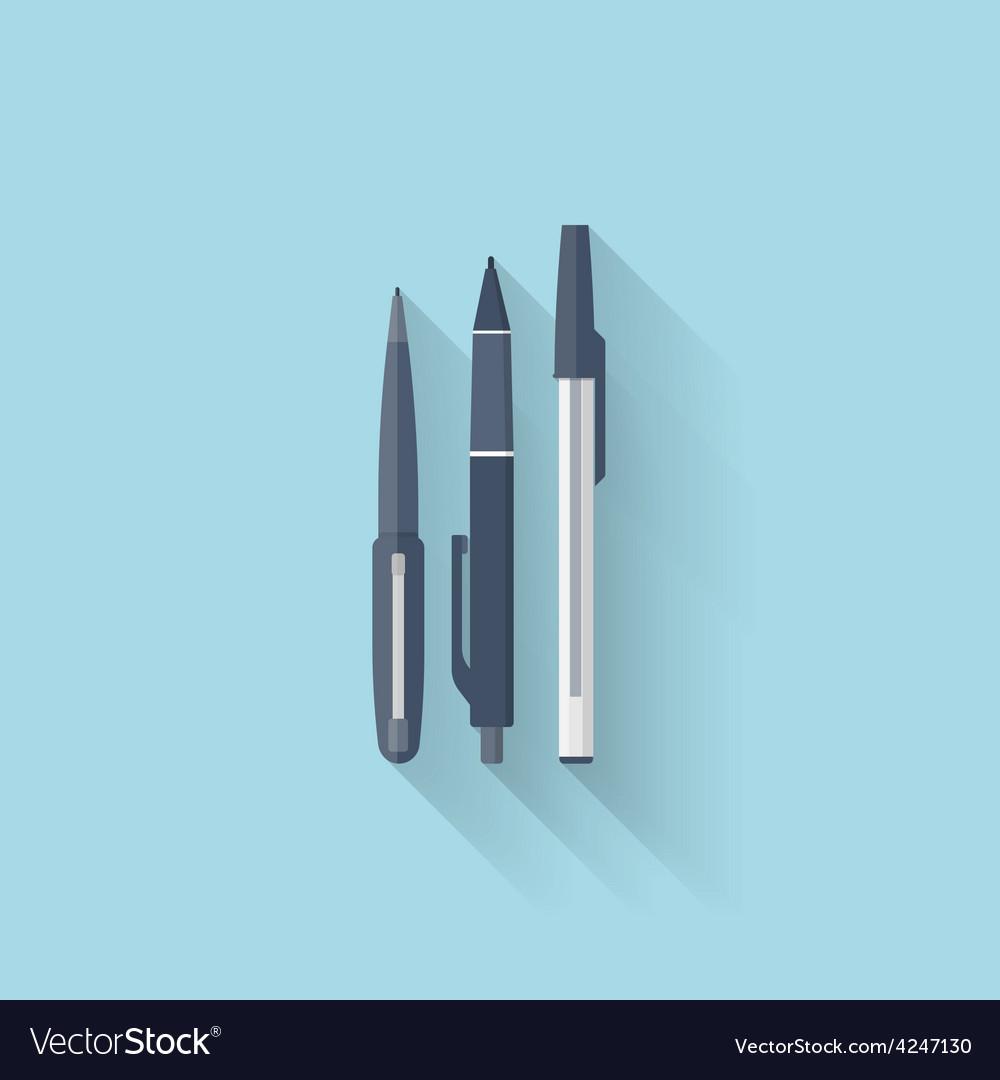 Flat web internet icon pen set vector
