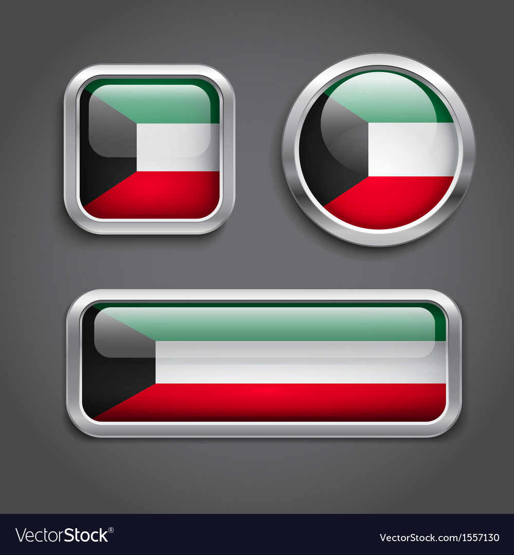 Kuwait flag glass buttons vector