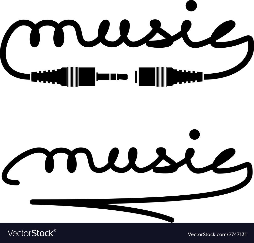 Jack connectors music calligraphy vector