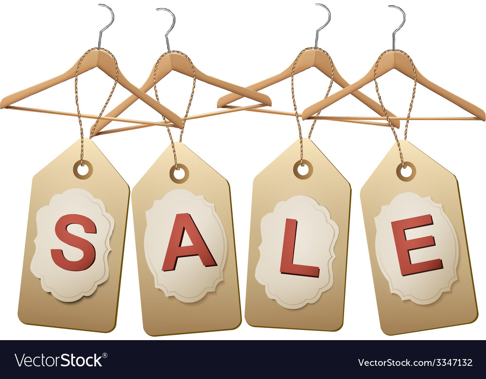 Four wooden hangers with price tags forming the vector