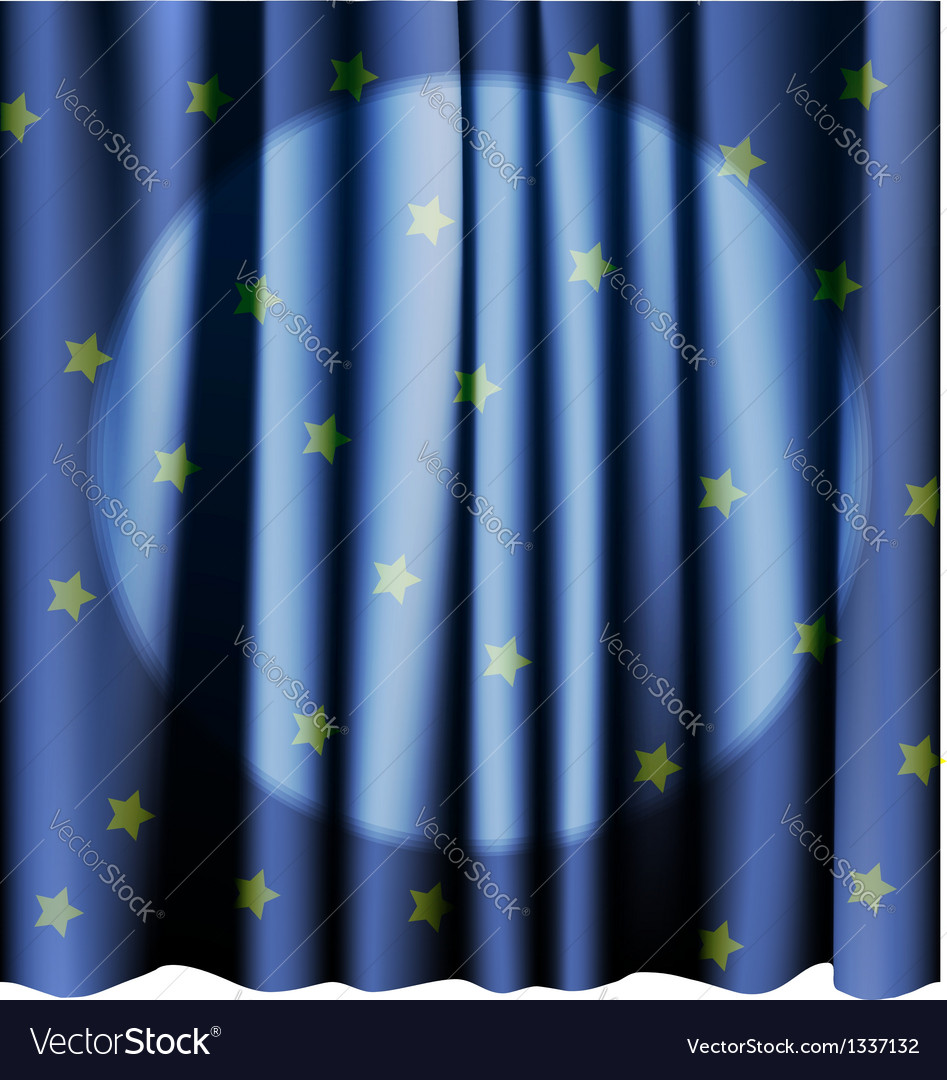 Magic blue curtain for the stage editable meshes vector