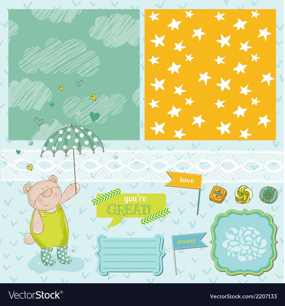 Baby bear shower theme vector