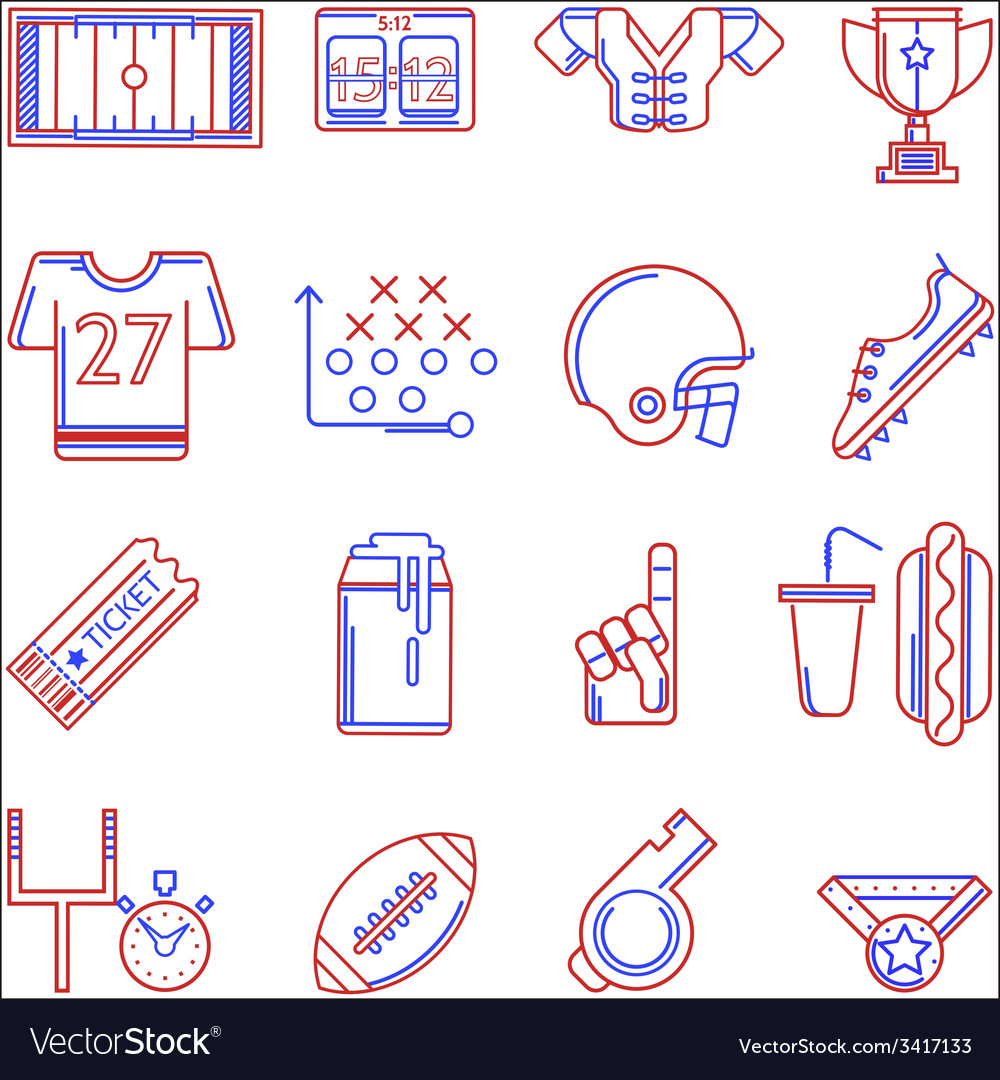 Contour two colored icons for american football vector