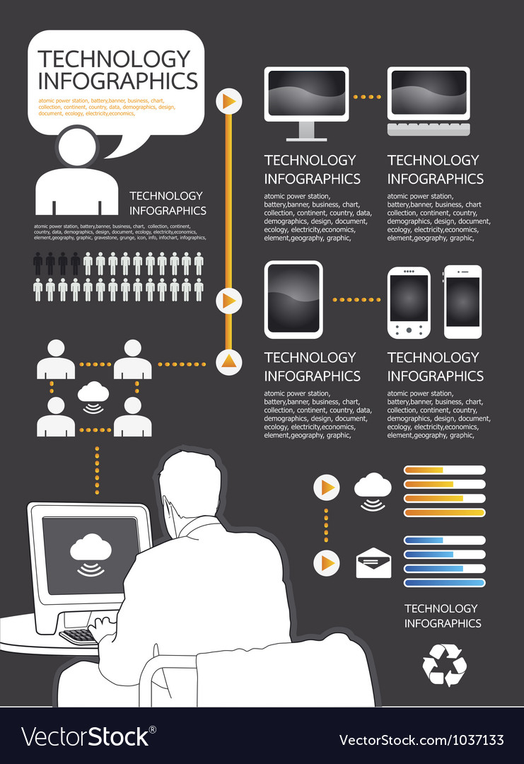 Infographic technology computer set vector